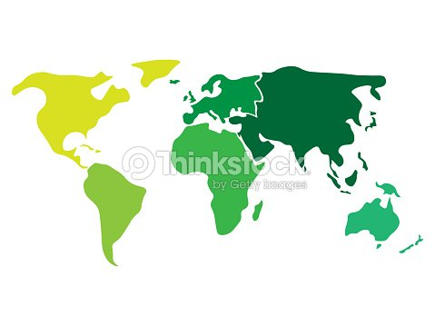 Multicolored world map divided to six continents in different colors - North America, South America, Africa, Europe, Asia and Australia Oceania. Simplified silhouette blank vector map without labels : stock vector