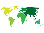 Multicolored world map divided to six continents in different colors - North America, South America, Africa, Europe, Asia and Australia Oceania. Simplified silhouette blank vector map without labels.