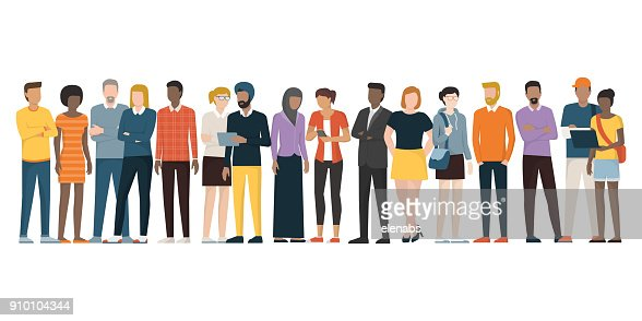 Multiethnic group of people : Vector Art