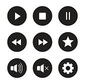 Multimedia black icons set. Audio and video player user interface buttons. White silhouettes illustrations. Digital sound  control ui round symbols. Website music player circle pictograms. Vector