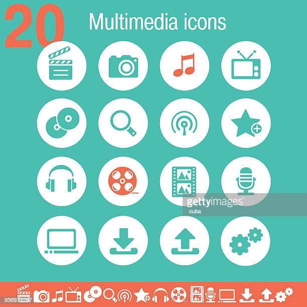Multimedia icons | Flat emerald collection