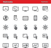 Professional, pixel perfect icons depicting various multimedia and technology concepts.