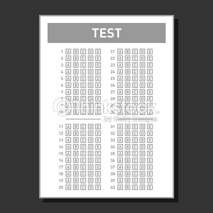 Multiple Choice Blank Answer Sheet Vector Art