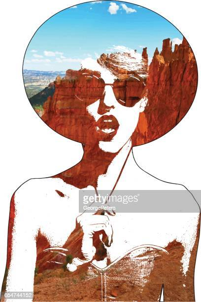 Multiple exposure vector of woman and Bryce Canyon National Park Hoodoos