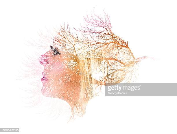 Multiple Exposure, Woman and Trees