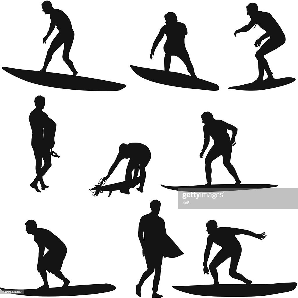 Multiple image of surfers : Vector Art