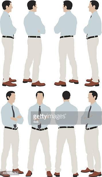 Varias imágenes de un hombre de negocios de pie