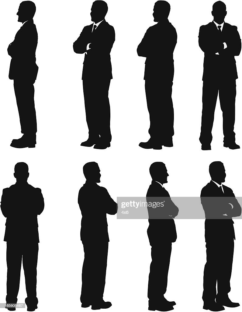 Multiple images of a businessman standing with his arms crossed : Vector Art