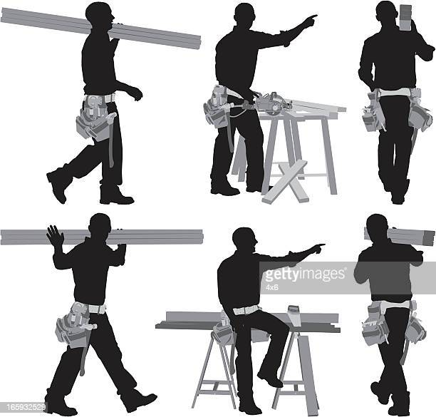 Multiple images of a carpenter