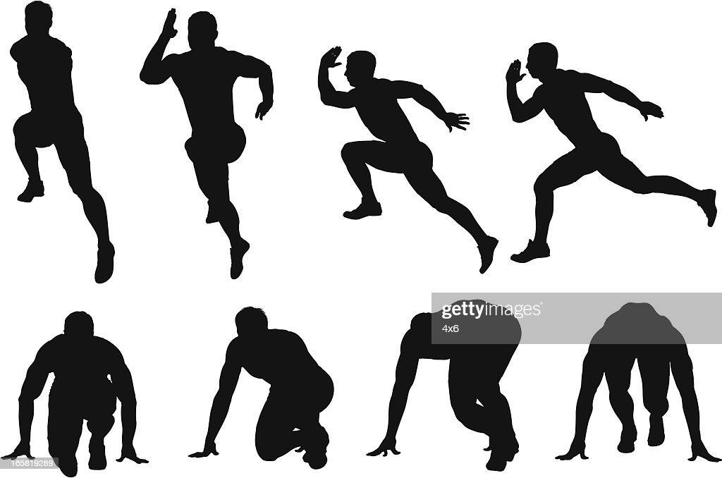 Multiple images of a male runner : Vector Art