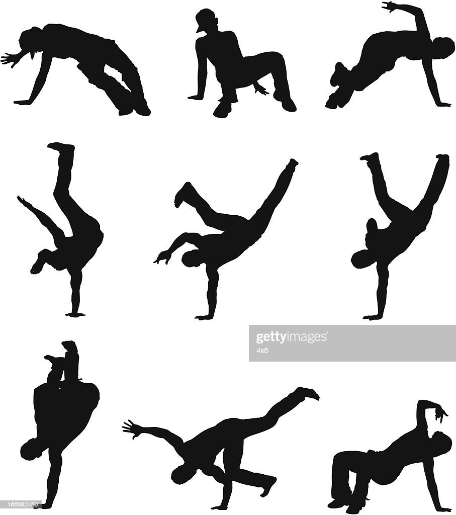 Multiple images of a man doing cartwheel : Vector Art