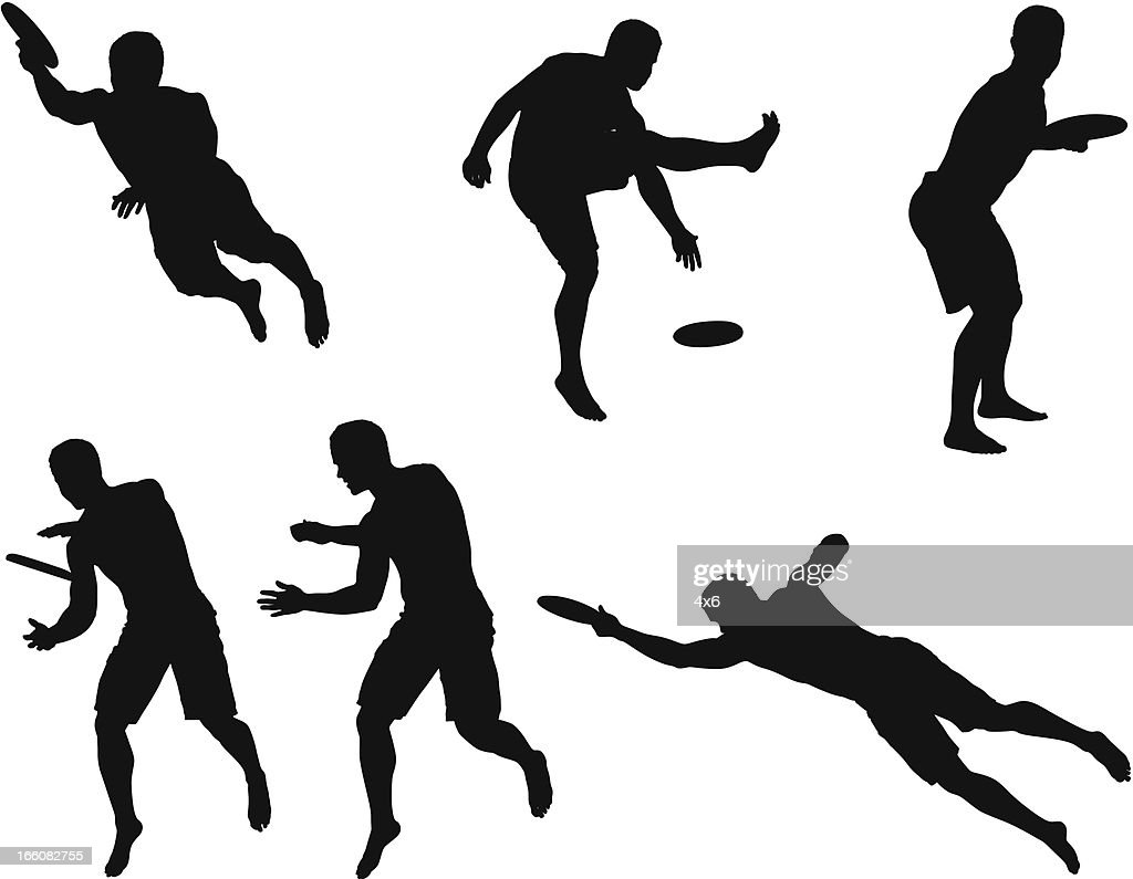 Multiple images of a man playing frisbee : Vector Art