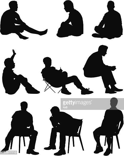 Multiple images of a man sitting