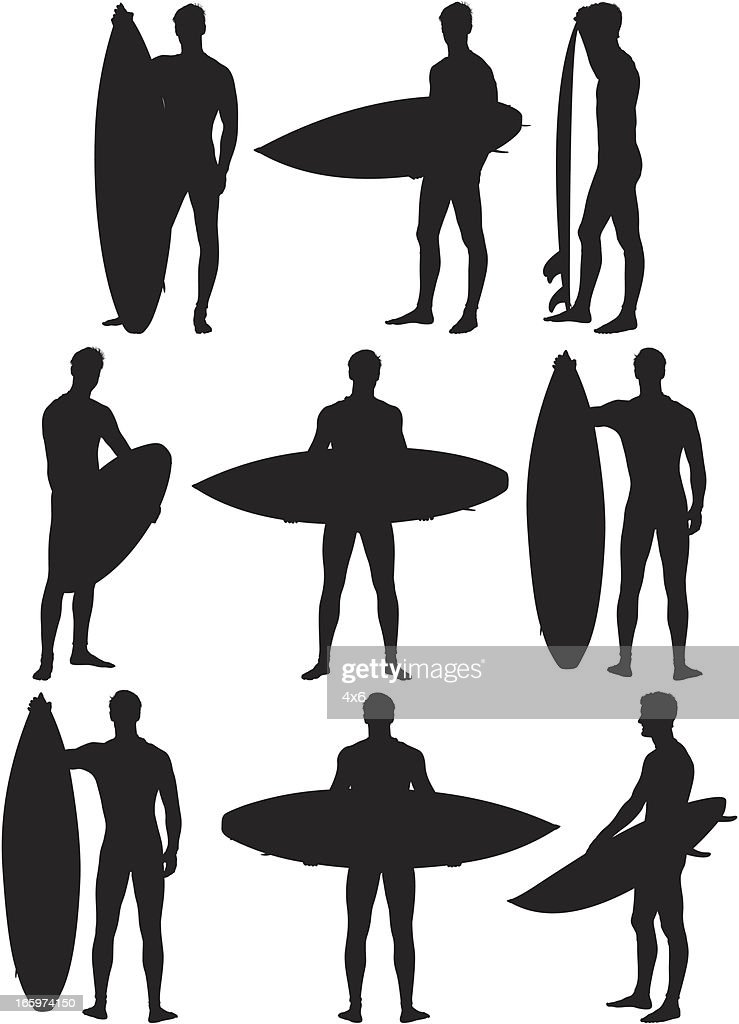 Multiple images of a man with surboard : Vector Art