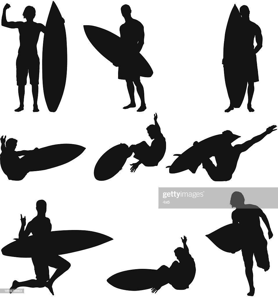 Multiple images of a surfer in action : Vector Art