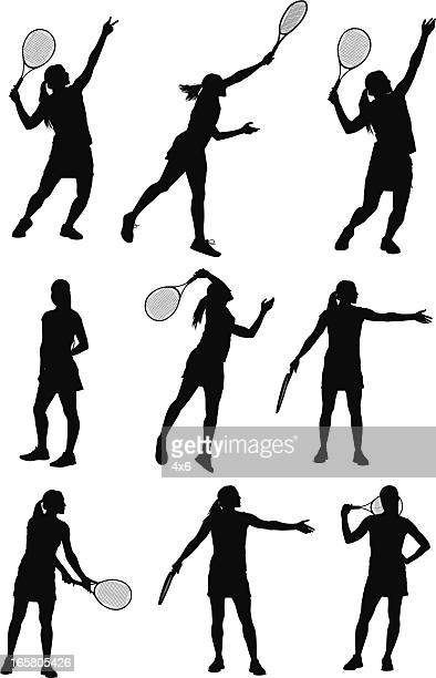 Multiple images of a woman playing tennis
