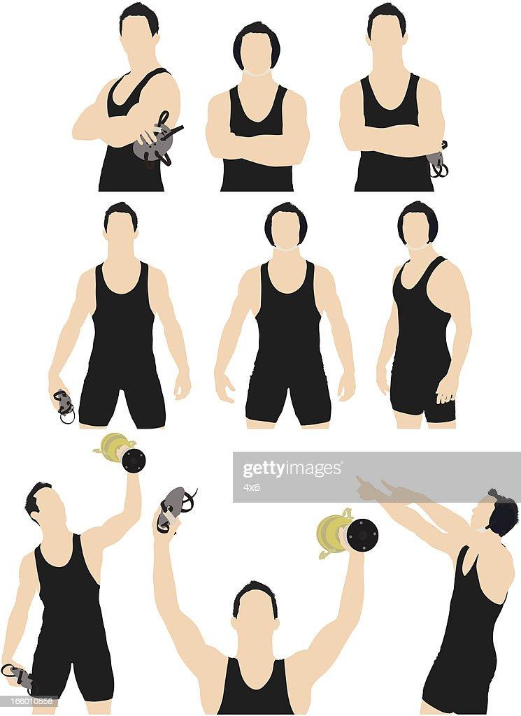 Multiple images of a wrestler : Vector Art