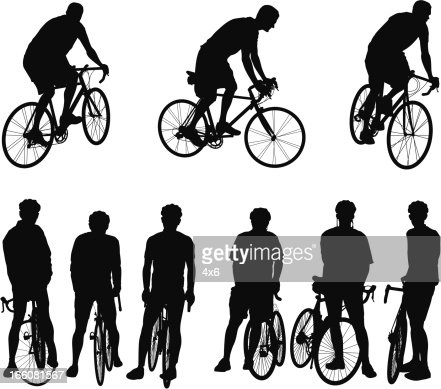 Multiple images of bicyclists : Vector Art