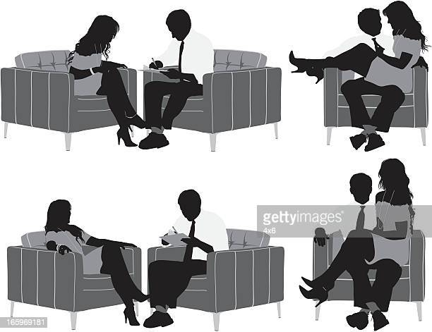 Multiple images of businesss couple