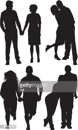 Multiple images of couple in various pose : Vector Art