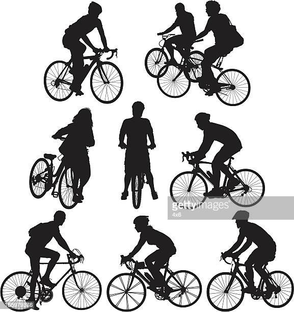 Multiple images of cyclists