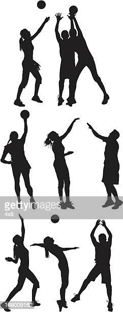 Multiple images of men and women playing volleyball