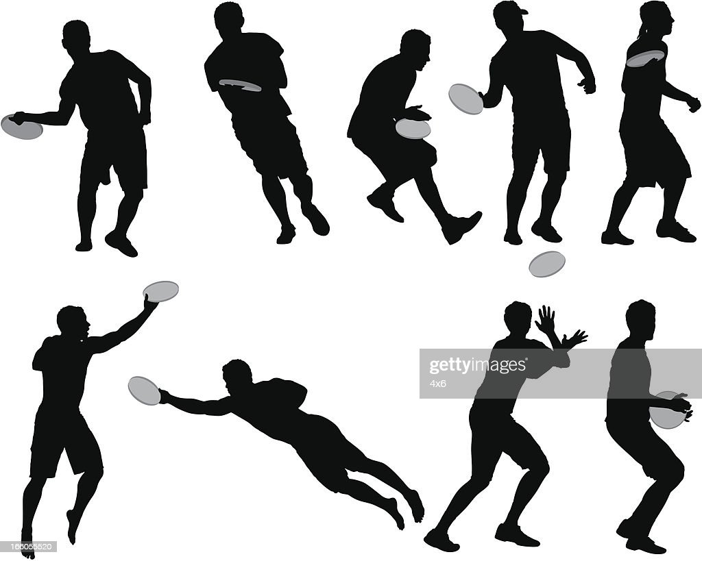Multiple images of men playing frisbee : Vector Art