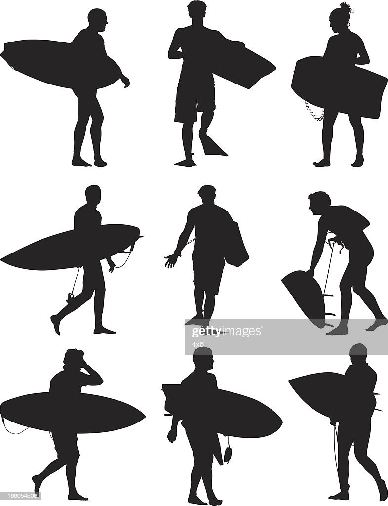 Multiple images of surfers with surfboard : Vector Art