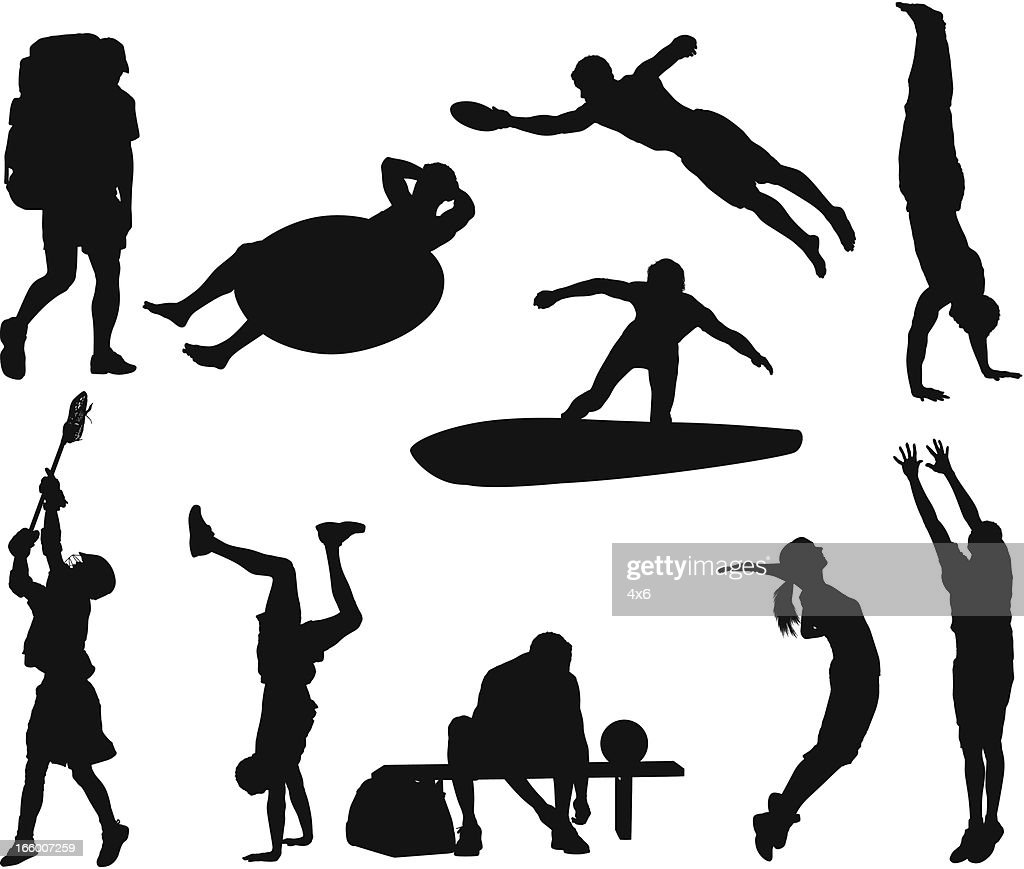 Multiple silhouette of various sports : Vector Art