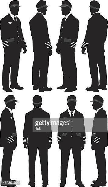 Multiple silhouettes of a pilot
