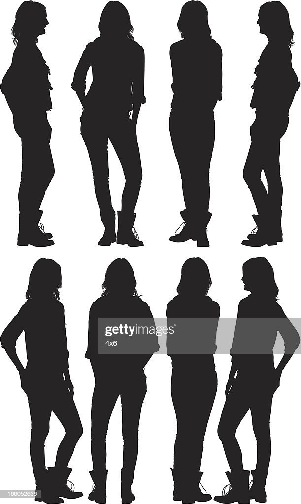 Multiple silhouettes of a woman with hands in pockets : Vector Art