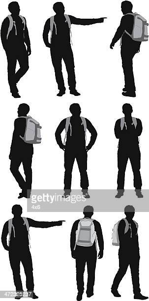 Multiple silhouettes of hiker