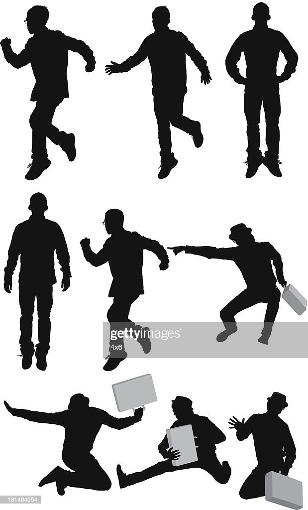 Multiple silhouettes of jumping in air : Vector Art