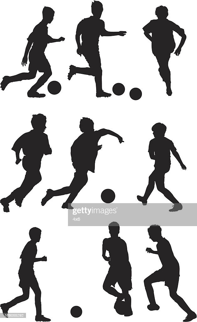 Multiple silhouettes of kids playing soccer : Vector Art