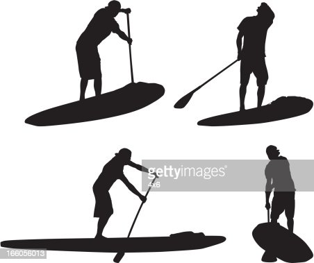 Multiple silhouettes of man on paddleboard : Vector Art
