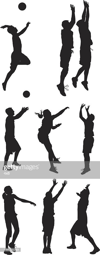 Multiple silhouettes of men and women playing volleyball : Vector Art