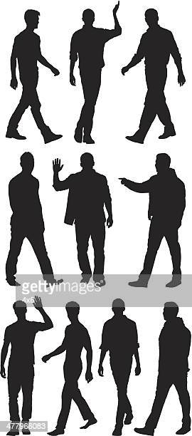 Multiple silhouettes of men walking and waving hands
