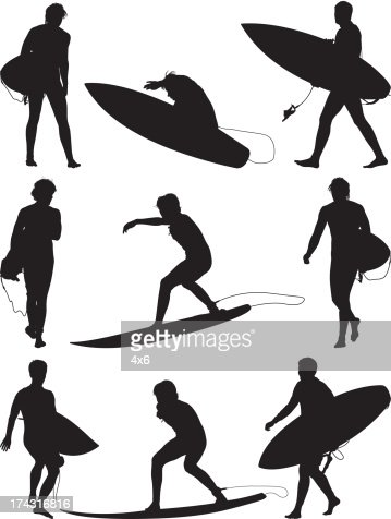 Multiple silhouettes of surfers with surfboard : Vector Art
