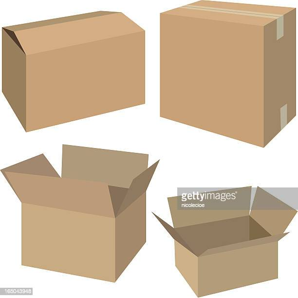 Multiple sizes of cardboard boxes