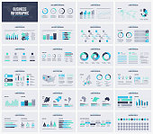 Multipurpose presentation slides vector template. Infographic elements for data visualization with world and USA maps. Set of universal icons.