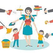 Multitask woman. Mother, businesswoman with children and bab yin sling, ironing, working, coocking and calling.
