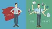 Set of two concept illustrations. Multitasking businessman with six hands. Superhero.