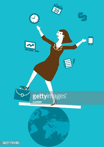 Multitasking Businesswoman Juggler New Business Concept Vector Art Getty Images