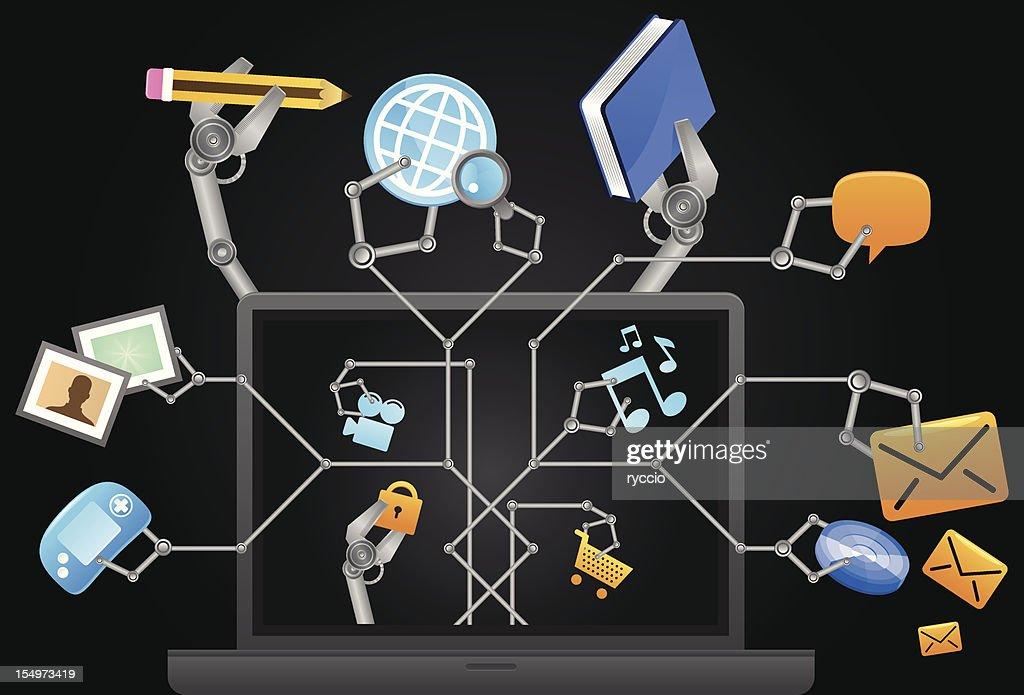 Multitasking laptop : Vector Art