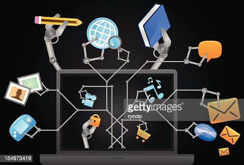 Multitasking-laptop : Vektorgrafik