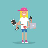 young blond girl using a lot of devices at the same time  / flat editable vector illustration