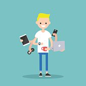 young blond man using a lot of devices at the same time  / flat editable vector illustration