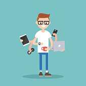 young nerd using a lot of devices at the same time  / flat editable vector illustration