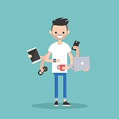 young bearded man using a lot of devices at the same time  / flat editable vector illustration
