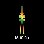 Munich, Germany Vector Line Icon. Munich Landmark - Emblem - Print - Label - Symbol. Munich TV Tower Pictogram. World Cities Collection.